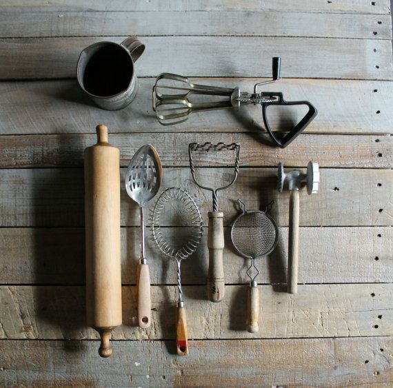 8 pc Vintage koken Set van therhubarbstudio op Etsy