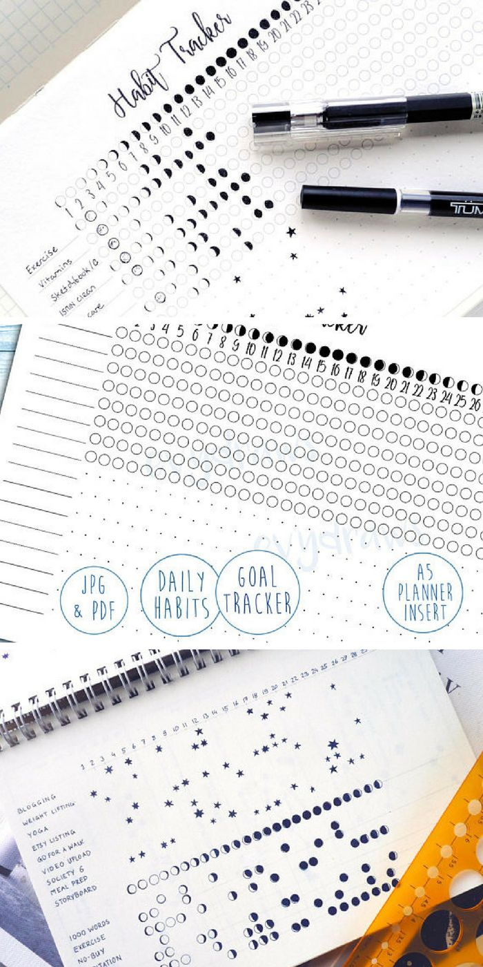 LOVE this habit tracker idea! Printable bullet journal habit tracker in two formats, moon phases and star constellations! What a gorgeous idea! I'm so into bujo printable pages recently because it takes me so long to draw myself. Just print and stick! #ad #bulletjournal #bujo #printable #moon #stars