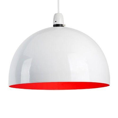 Modern Gloss White & Red Metal Dome Ceiling Pendant Light