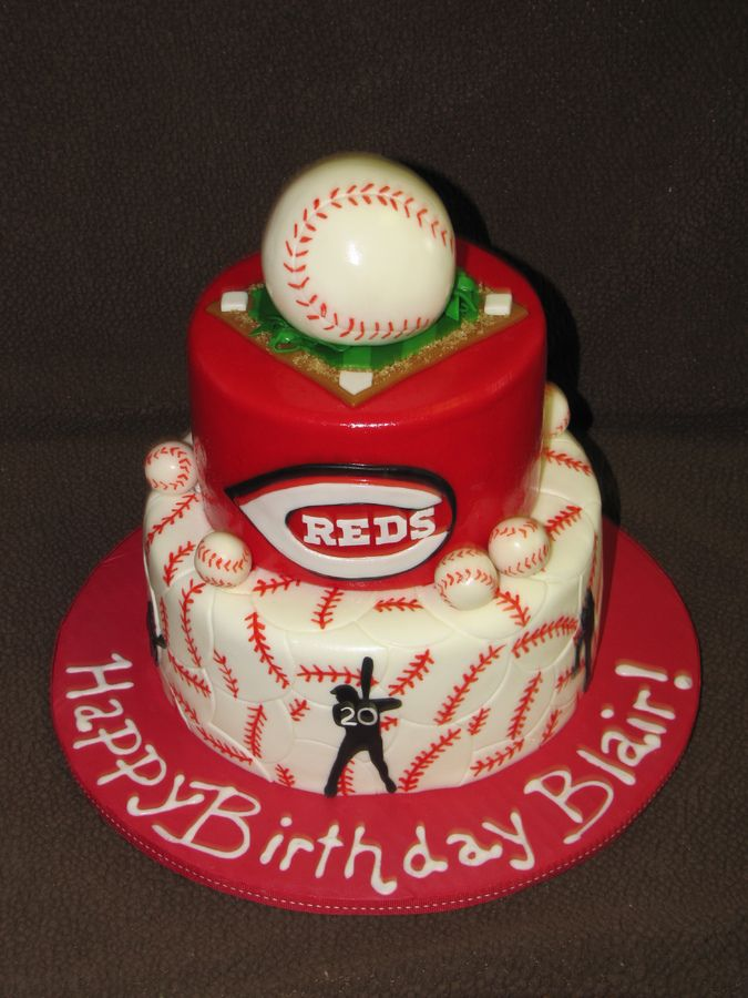Cincinnati Reds Birthday cake for a 10 year old.  All details are made out of fondant.  The baseball on top is RKT.