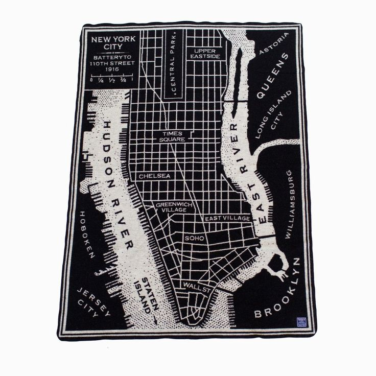 New York City Vintage Map Wool Throw - Black/Smoke