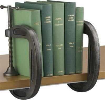 Repurposed C CLAMP BOOKCASE shelf for industrial, vintage cottage style home decor or retail store display; upcycle, recycle, salvage, diy, repurpose!  For ideas and goods shop at Estate ReSale & ReDesign, Bonita Springs, FL