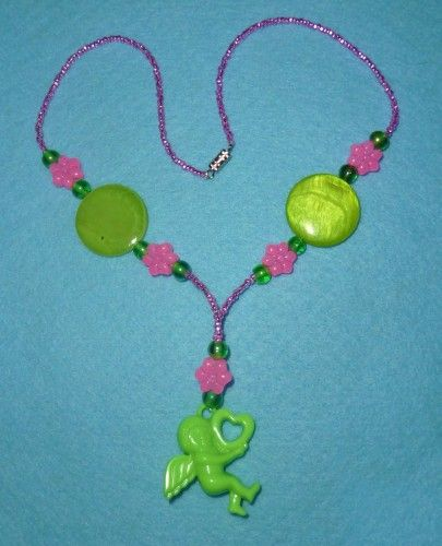 Kitschy Cupid Pink and Lime Necklace