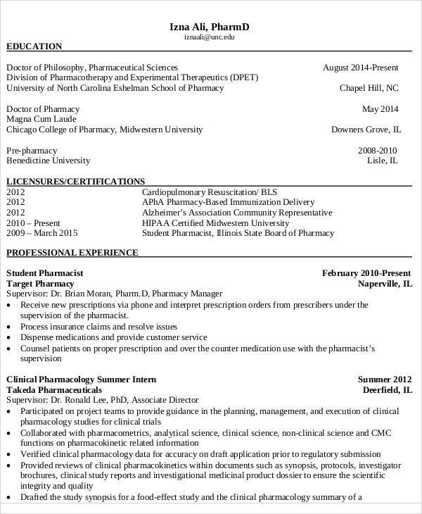 Pharmacist Curriculum Vitae Missersd7