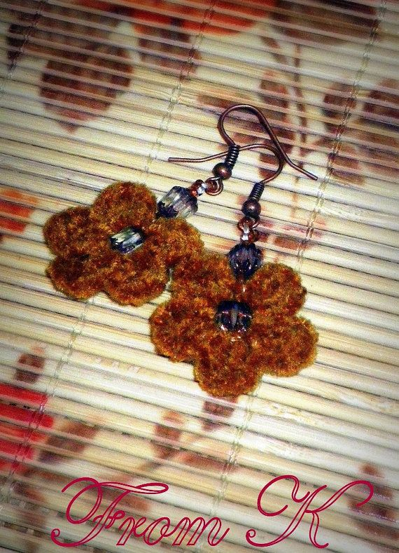 Crochet flower earrings in brown by FromK on Etsy, $3.50