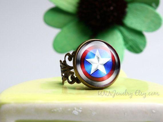 Captain America ringen Womens Vintage Super held verklaring Ring verstelbare Ring Girl Kid nieuwigheid Ring bruiloft bruidsmeisje sieraden cadeau voor haar