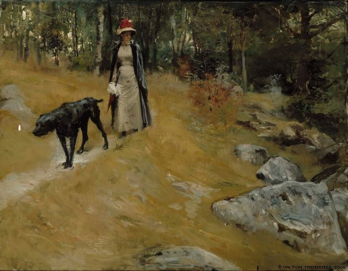 Edelfelt, Albert  On the Shore Bank (Annie Edelfelt with a Dog), 1883