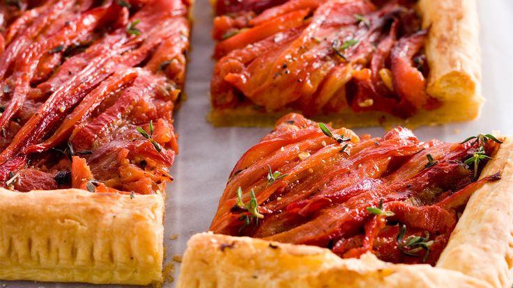 Hartige taart met tomaat en paprika - zomer recept paprika