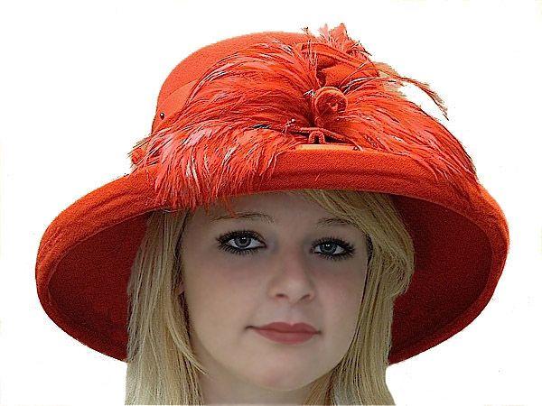 Fancy Ladies Red Royal Hats  Fancy Winter Church Hat For -2348