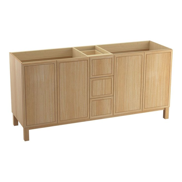 "Jacquard 72"" Vanity Base with Furniture Legs, 4 Doors and 3 Drawers, Split Top Drawer"