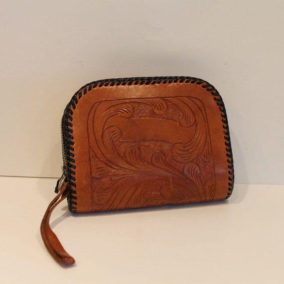 Vintage Brown Tooled Leather Clutch Wallet Hard by FunkieFrocks