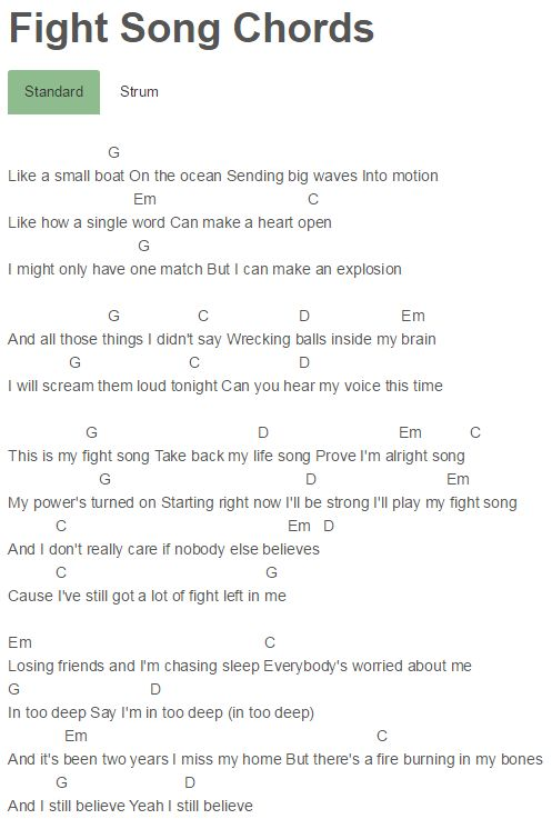 Fight Song Chords Rachel Platten