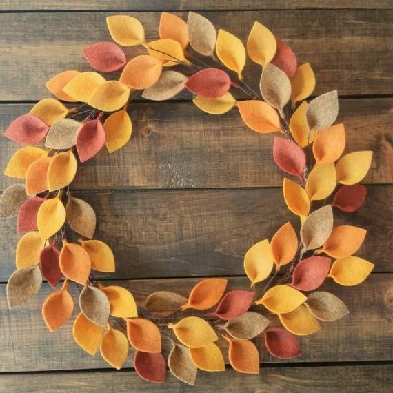 Extra Large 20 Size Autumn Felt Leaf Wreath Simple | Etsy
