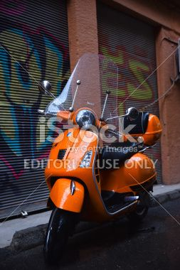 Orange Piaggio Vespa Royalty Free Stock Photo