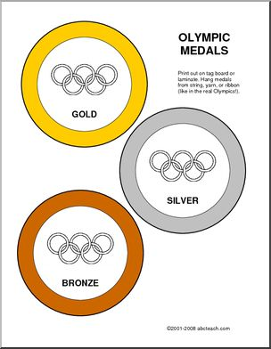 Award: Olympic Medals - Gold, silver, and bronze colored circles with the Olympics rings in the centers.