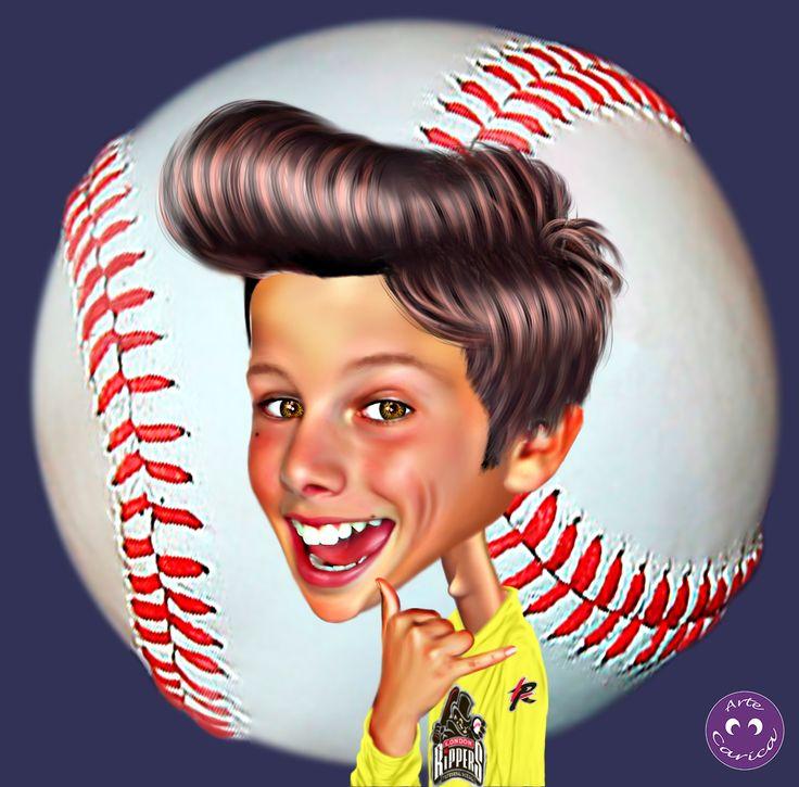 Un chico al que le gusta mucho el beísbol !!!  #ArteCarica #caricatura #dibujo #pintura #diseño #retoque #foto #fotoperfil #perfil #redessociales #blog #beisbol #baseball