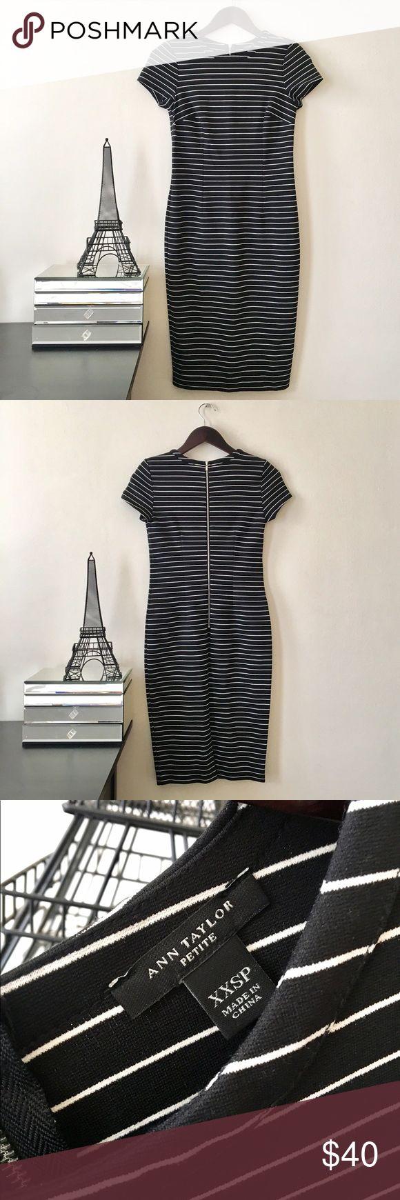Ann Taylor Striped Midi Length Dress NWOT Ann Taylor Striped Midi Length Dress. Silver zipper closure in back. Never worn. Size XXS Petite Ann Taylor Dresses Midi