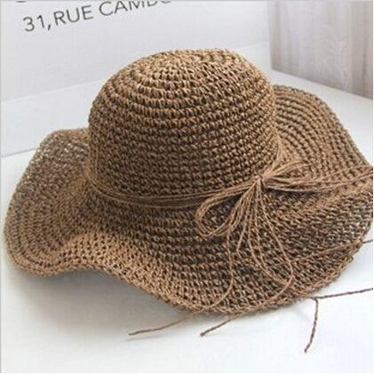 Лето большие полями соломенные шляпы женщины раскладной пляж кепка солома…