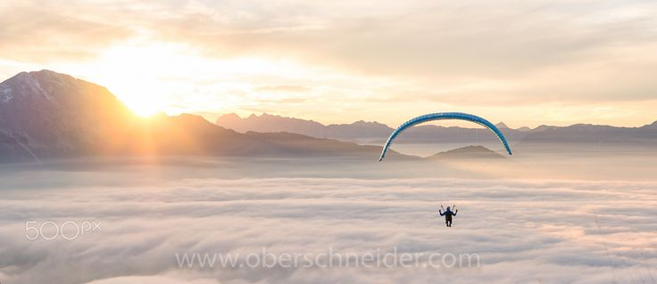"""Flying above the Clouds - A paragliding pilot flying above a carpet of clouds in the Austrian Alps.  Image available for licensing.  Order prints of my images online, shipping worldwide via  <a href=""""http://www.pixopolitan.net/photographers/oberschneider-christoph-a6030.html"""">Pixopolitan</a> See more of my work here:  <a href=""""http://www.oberschneider.com"""">www.oberschneider.com</a>  Facebook: <a href=""""http://www.facebook.com/Christoph.Oberschneider.Photography"""">Christoph Oberschneider…"""