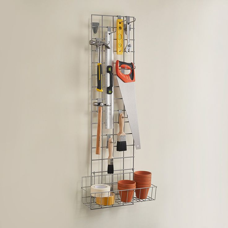 Fantastically practical Grid wall Mesh kit with hooks and accessories - great for garage, shed or office