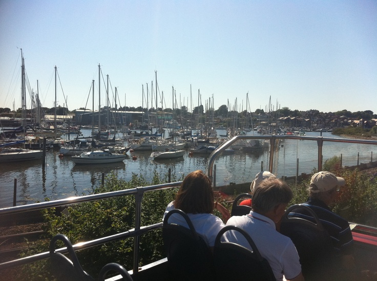 Overlooking the yachts at Lymington Pier on the Green Route