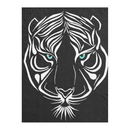 White Tribal Tiger Black Fleece Blanket - home gifts ideas decor special unique custom individual customized individualized