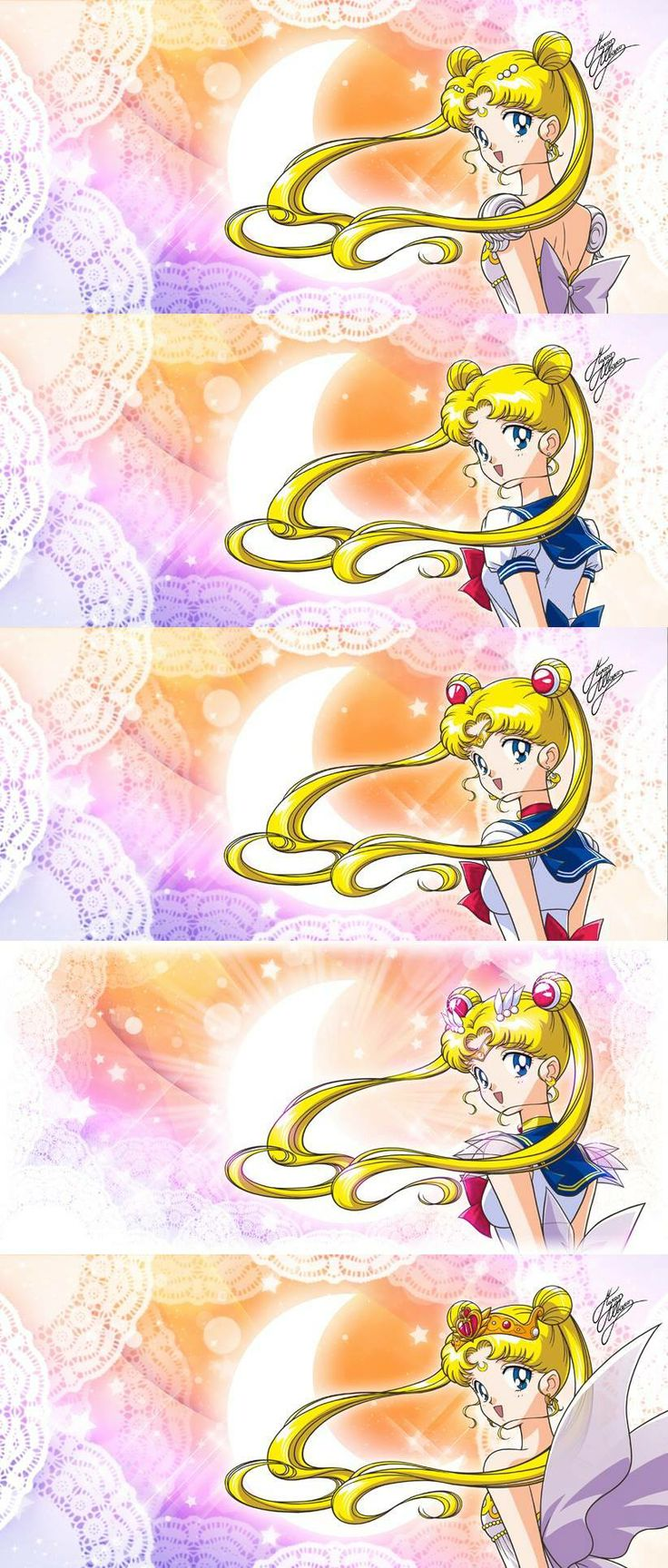 The Many Phases of the Moon | art by Marco Albiero; for the official Italian Sailor Moon World web site.