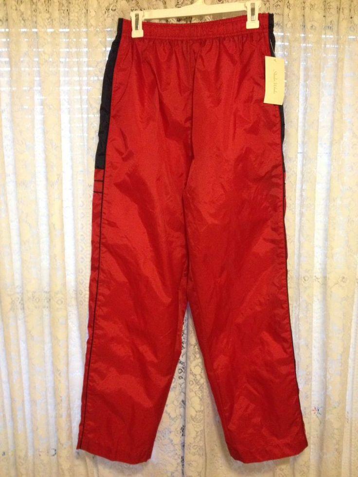 NWT STUDIO WORKS Womens Windbreaker Pants Track Athletic Warmup Red & Navy Sz M #StudioWorks #WindbreakerPants #windbreaker #track #trackpants #red #medium #womens #women #athleticpants #athletic