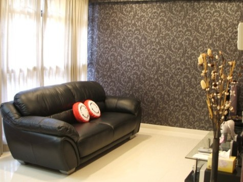 Engaging Living Room With Wallpaper Designs : Splendid Living Room Black  Leather Loveseat Sofa Set Wheat Paint Curtain Window Gray Vintage Wallpaper  As ...