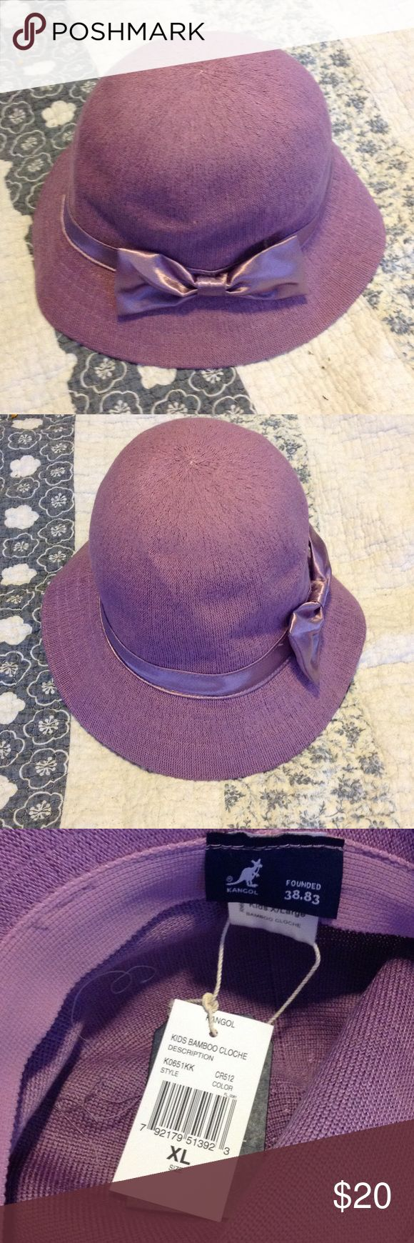 NWT Kangol Kids Bamboo Cloche Hat Sz XL Beautiful lavender cloche girls' hat from Kangol.   Breathable in bamboo!  XL fits 8-10 yrs (see last pic).  Stored in my smoke-free home. Kangol Accessories Hats