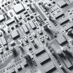 Fantasy circuit board or mainboard. Technology  3d illustration