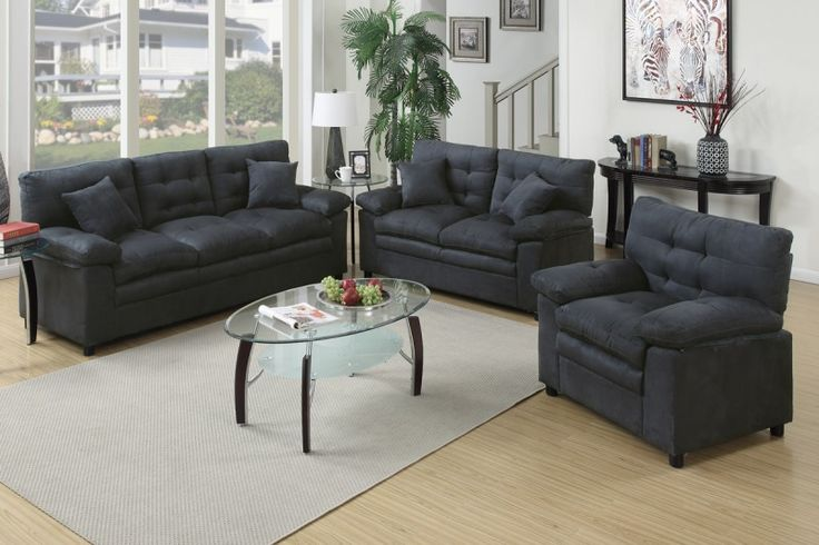 Poundex Foligno 3 Piece Living Room Set Upholstered In Microfiber  (Chocolate), Brown
