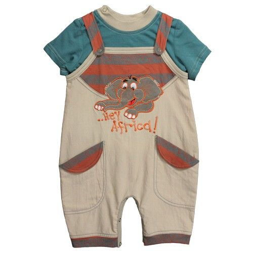 Cute 2 piece cotton romper with an appliqué Ellie on the front, comes with gorgeous teal green T.shirt Made from 100% cotton /100% jersey cotton- machine washable This Product is Certified Fair Trade Available in sizes from 3-6months upto 18-24months