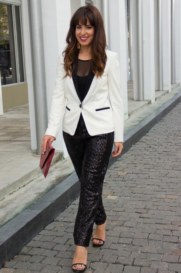 Tuxedo jacket + sequin pants. @bebe stores #tuxedo #blazer ...