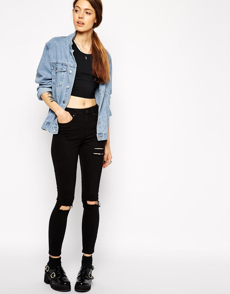 ASOS+Ridley+Skinny+Ankle+Grazer+Jeans+in+Clean+Black+with+Thigh+Rips+and+Busted+Knees