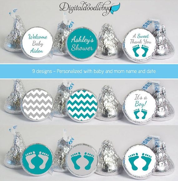 stickers for kisses party baby shower favors kiss54 boy footprint chevron gray teal