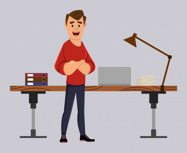 Manager Or Businessman Stand Near His Table Or Workplace Business Man Animated Characters Double Exposure Photography