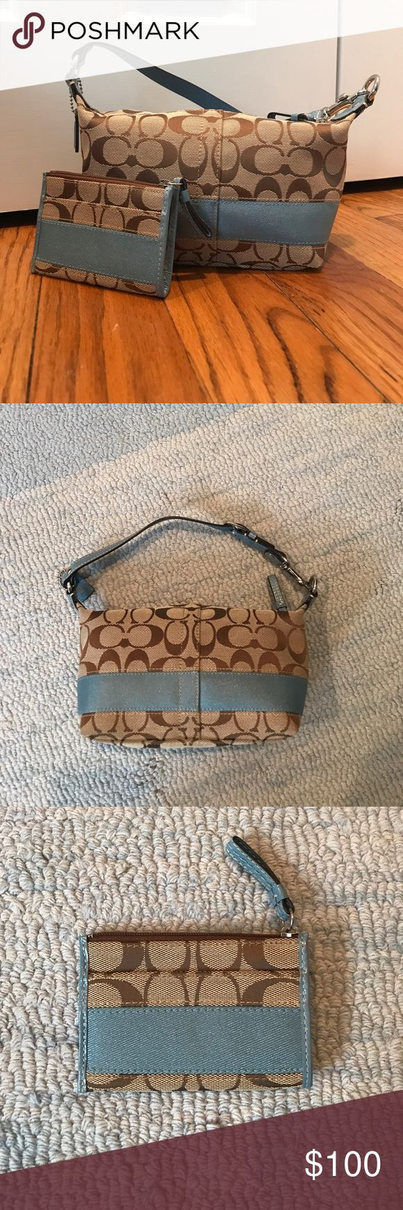 Coach Satchel Purse Authentic Coach satchel purse and matching card holder. Classic Coach design featuring their logo compliment with blue detail. Excellent condition. Never used. Coach Bags Mini Bags