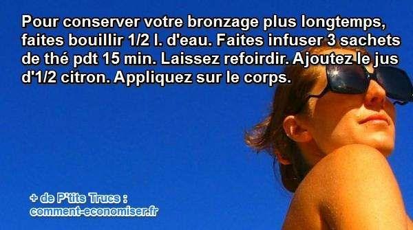 Heureusement, il existe une lotion maison qui permettra à votre peau de conserver tout l'éclat du bronzage, sans l'abîmer. Avec un peu de thé et de citron, voici une solution naturelle et simple pour faire durer son bronzage. Découvrez l'astuce ici : http://www.comment-economiser.fr/bronzage-plus-longtemps.html?utm_content=buffere4a7d&utm_medium=social&utm_source=pinterest.com&utm_campaign=buffer