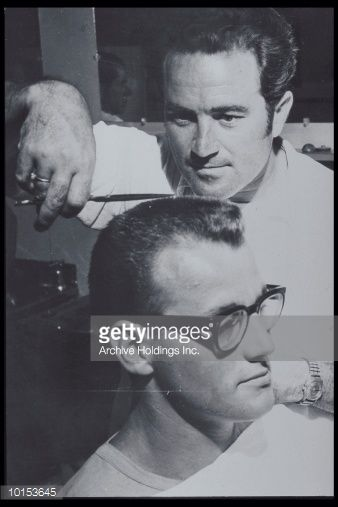 Stock Photo : BARBER TRIMMING MANS CREW CUT, 1950S