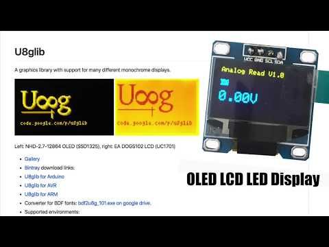 OLED i2c Display + U8glib library : Arduino Tutorial - YouTube