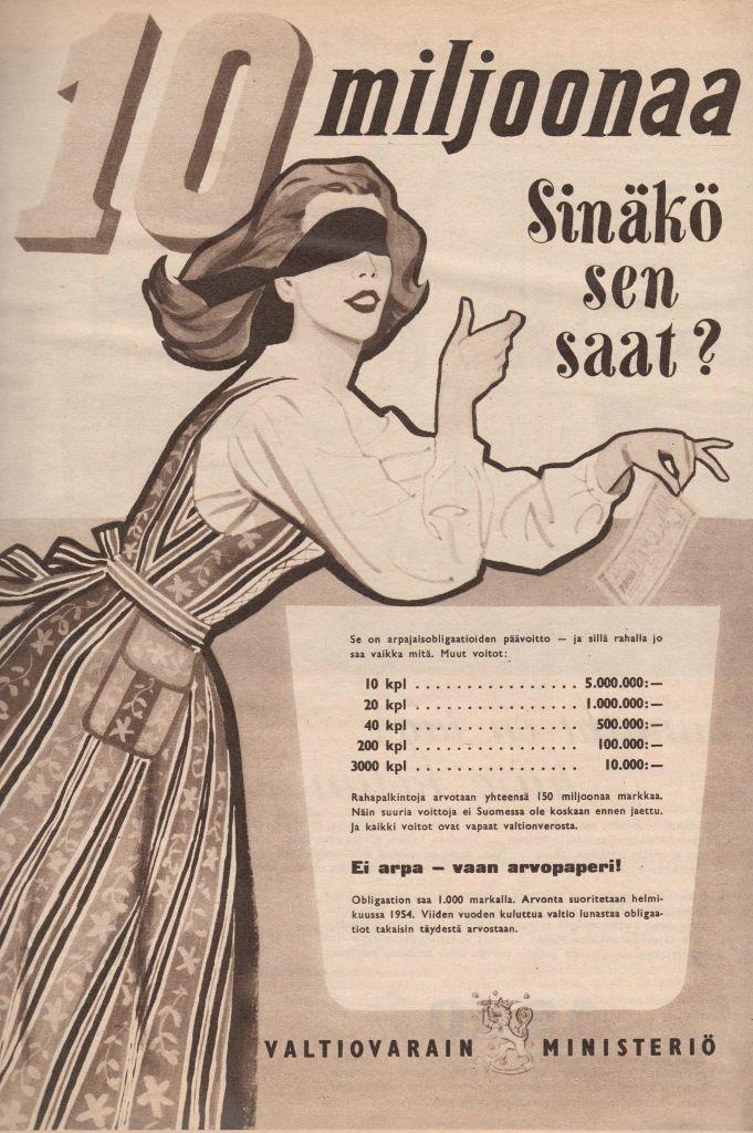 Valtiovarainministeriö, obligaatiot, 50-luvun alku