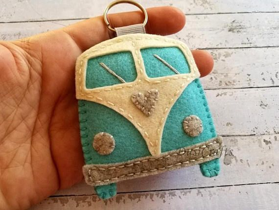 Wool felt Retro Camper keychain, Campervan Camping gift This can be a great gift…