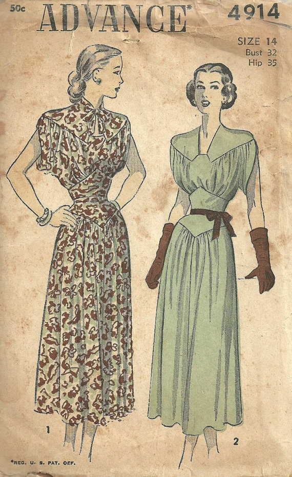 Vintage Forties Sewing Pattern Advance 4914