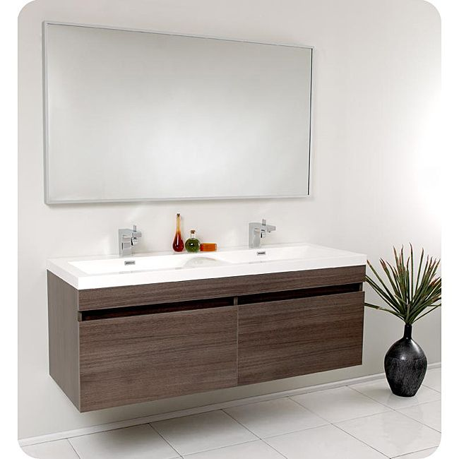 Fresca Largo Gray Oak Double Bathroom Vanity - Overstock™ Shopping - Great Deals on Fresca Bathroom Vanities