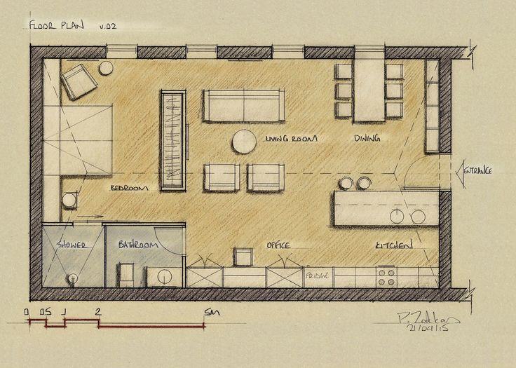 Loft Apartment 75 sqm, Floor Plan, Version 02 - www.pzarch.gr