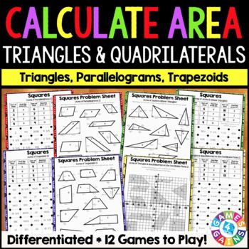 These games, which are a twist on the classic dots game, make 6th grade area standards so much fun to practice! This Calculating the Area of Triangles and Quadrilaterals Squares Games Pack includes 12 fun and engaging printable games to help students to practice calculating the area of squares, rectangles, parallelograms, trapezoids, triangles, and composite figures!