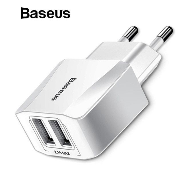 Baseus Dual Usb Charger Mobile Phone Eu Charger Plug Travel Wall Charger Adapter For Iphone Ipad Samsung Xiaomi Phone Ch Usb Chargers Dual Usb Charger Adapter