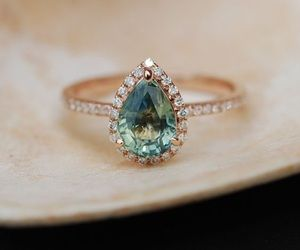 So pretty! Mint Sapphire and Diamond Ring. We create custom engagement rings and jewelry @AleaMariCo on Etsy.