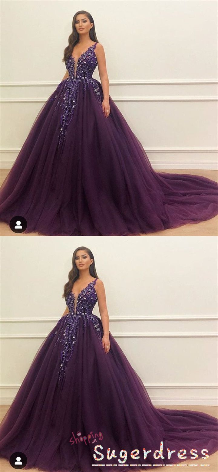 Gorgeous Plum Ball Gown With Crystals Plum Prom Dresses Sparkle Dress Long Best Formal Dresses [ 1560 x 720 Pixel ]